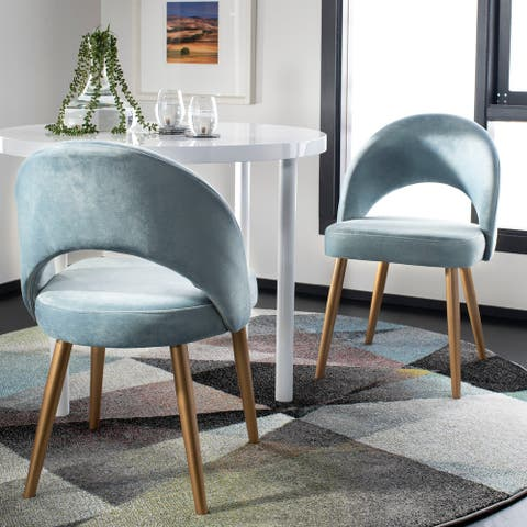 "Safavieh Giani Retro Dining Chair-Slate Blue / Gold (Set of 2) - 21.3"" x 24.3"" x 31.8"""