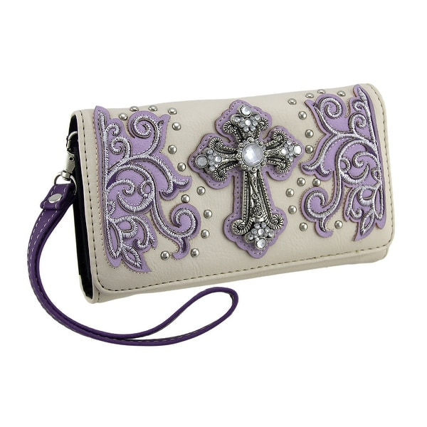 Jeweled Cross Beige Wallet w/Studs Embroidery & Removable Straps