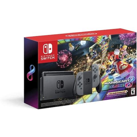 Nintendo Switch w/ Gray Joy-Con + Mario Kart 8 Deluxe (Full Game Download)
