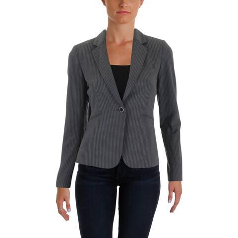 Tahari ASL Womens Petites One-Button Blazer Pinstripe Long Sleeves