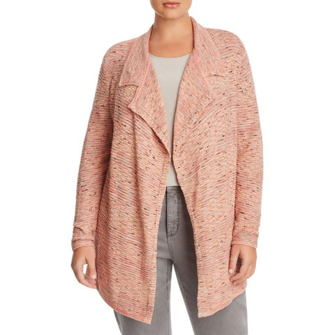 Nic + Zoe Womens Plus Cardigan Sweater Marled Open Front