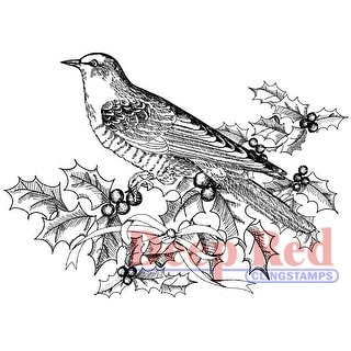 """Deep Red Cling Stamp 3""""X2""""-Bird & Holly"""