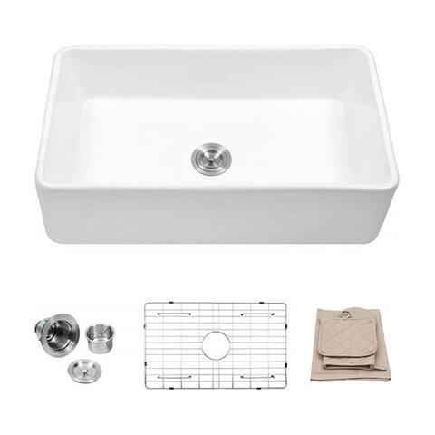33 in. Single Bowl Farmhouse Porcelain Ceramic Kitchen Sink in White