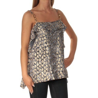 Womens Navy White Printed Sleeveless Square Neck Top Size S