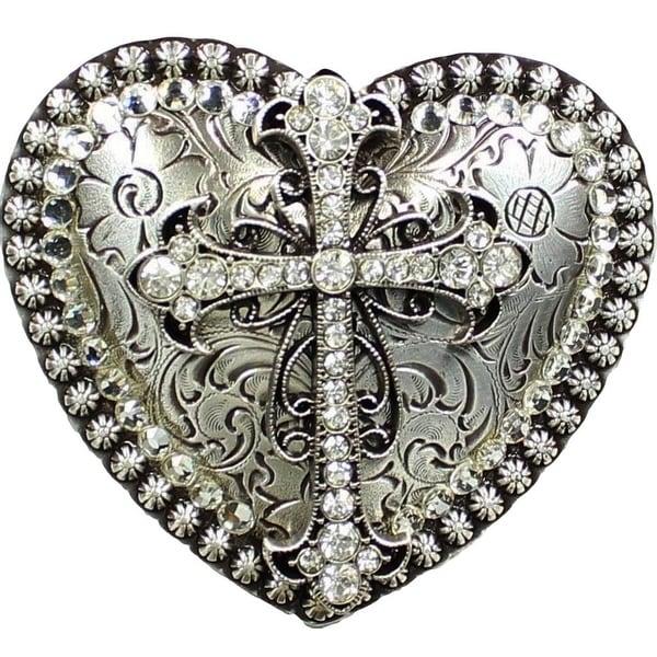 Nocona Western Belt Buckle Womens Heart Cross Rhinestones Silver - 3 x 3 1/4