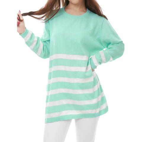 Women Long Sleeves Stripes Loose Tunic Knit Shirt