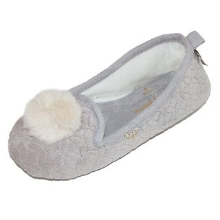 Pretty You London Women's Quilted Ballerina Slipper with Pom Pom