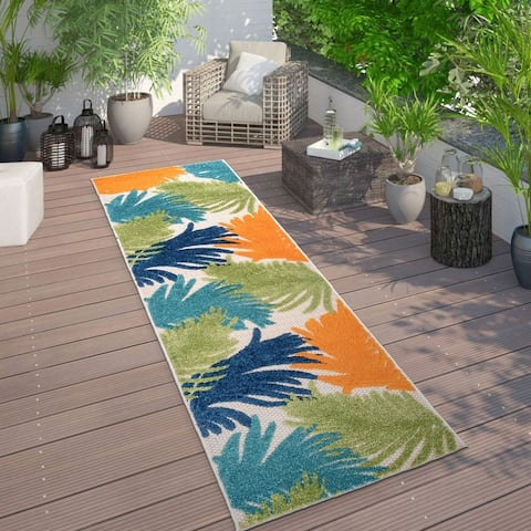 Contemporary Tropical Large Floral Indoor/Outdoor Area Rug