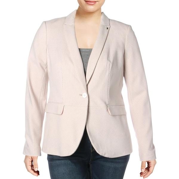 Tommy Hilfiger Womens One-Button Blazer Notch Lapel Pinstripe - Pink Multi. Opens flyout.