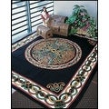 Handmade 100% Cotton Celtic Wheel of Life Tapestry Bedspread Twin 70x104 and Full 88x104 in Black Tan & Black Purple colors - Thumbnail 0