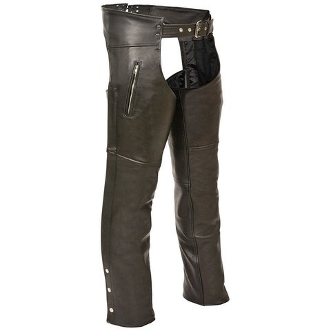 Mens Slash Pocket Black Leather Motorcycle Chaps