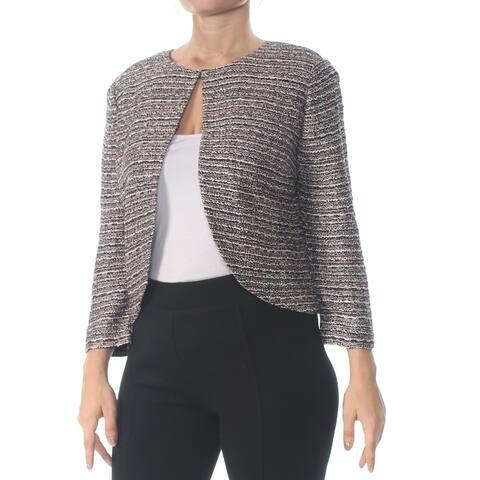 ST JOHN Womens Pink Tweed Jacket Size: 10