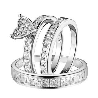 Sterling Silver Wedding Ring Trio Set His Her Simulated Diamond Band Mens Womens