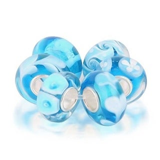 Bling Jewelry Set of Six Bundle Blue Imitation Turquoise Murano glass Lampwork Bead Charm .925 Sterling Silver
