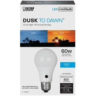 Feit Electric A800850DDLEDI Intellibulb LED Dusk To Dawn Light Bulb, 9.5 Watts