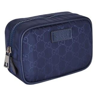 Gucci 510341 Blue Nylon GG Guccissima Small Toiletry Cosmetic Dopp Bag