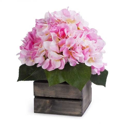 Enova Home Silk Hydrangea Flower Arrangement in Wood Planter For Home Decoration