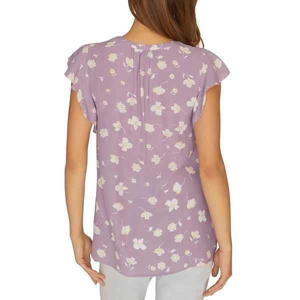 Sanctuary Womens V-Neck Flutter Sleeve T-Shirt Purple S