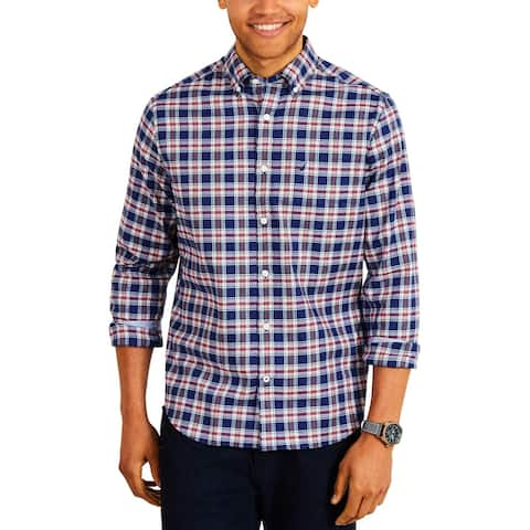 Nautica Mens Casual Shirt Long Sleeves Plaid