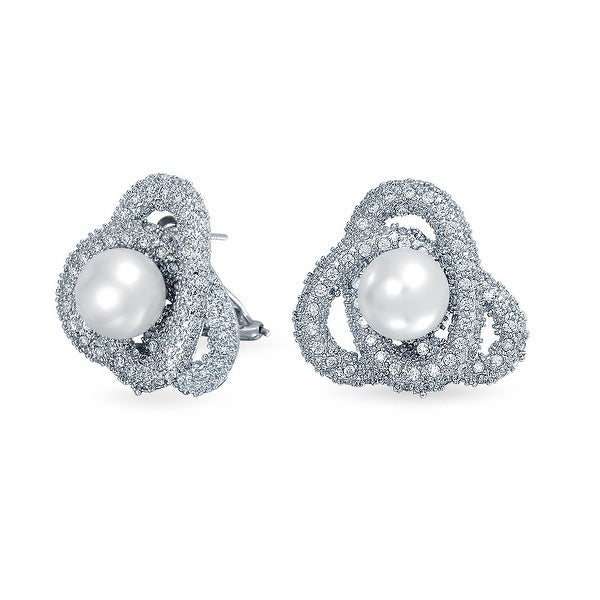 Bling Jewelry Love Knot Cz Imitation Pearl Earrings Rhodium Plated Br