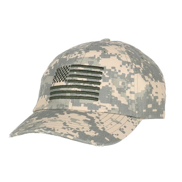 DPC Outdoor Design Men  x27 s Distressed Camouflage Baseball Cap with  American Flag af7669c3371