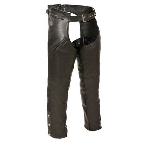 Mens Leather Gun Holster Chaps with Thigh Pockets