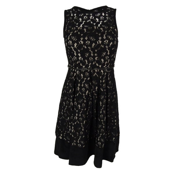 ac5c6857182 Shop Calvin Klein Women s Belted Sleeveless Lace Flare Dress - Black - 0P -  On Sale - Free Shipping On Orders Over  45 - Overstock - 15019344