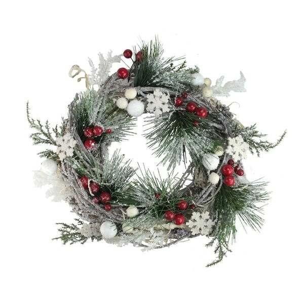 "8.75"" Snowflakes and Berries Winter Foliage Mini Christmas Wreath - Unlit"