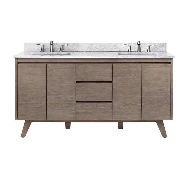 """Avanity COVENTRY-VS61 Coventry 61"""" Free Standing Double Vanity Set with Wood Cabinet, Marble Vanity Top and Two Ceramic"""
