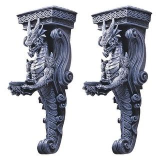 Design Toscano Halloween  Dragons of Darkmoor Castle Wall Caryatids: Set of Two