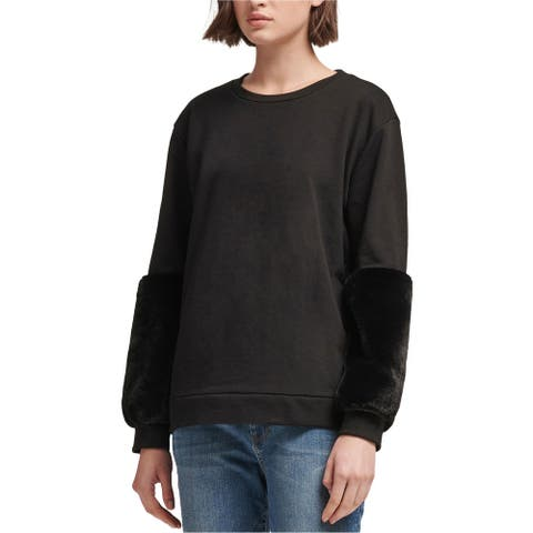 DKNY Womens Faux Fur Accent Sweatshirt, Black, Medium