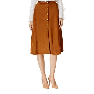 NY Collection Womens A-Line Skirt Faux Suede Button Closer