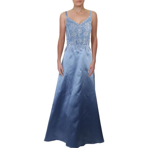 City Studio Womens Plus Formal Dress Rhinestone Embroidered - Periwinkle