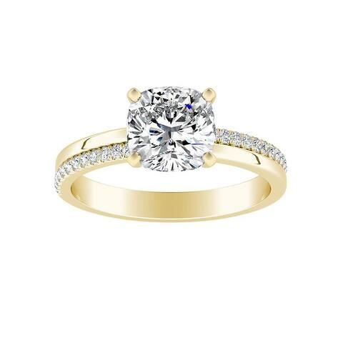 Auriya 1ct Cushion-cut Moissanite and Diamond Engagement Ring 14k Gold 0.12ct TDW