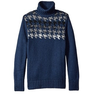 Nautica NEW Blue Mens Size Small S Houndstooth Turtleneck Sweater