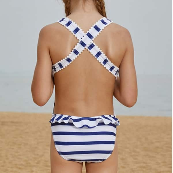 White Tropical Print Kids 2 Piece Swimsuit Bikini with Ruffles for Girls /& Toddlers.