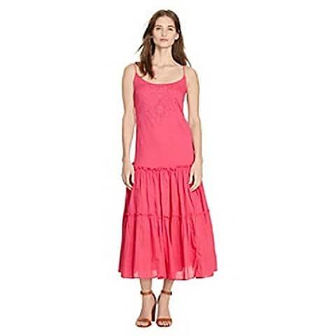 Ralph Lauren Women's Pink Embroidered Cotton Maxi Dress (6) - 12
