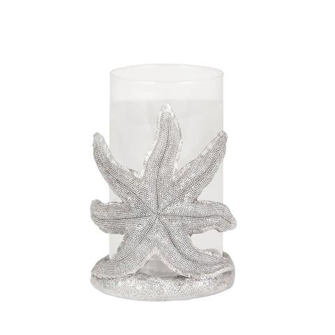 """Resin/Glass 8"""" Starfish Hurricane, Silver"""