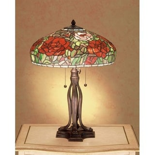 Meyda Tiffany 32292 Stained Glass / Tiffany Table Lamp from the Tiffany Peonies Collection