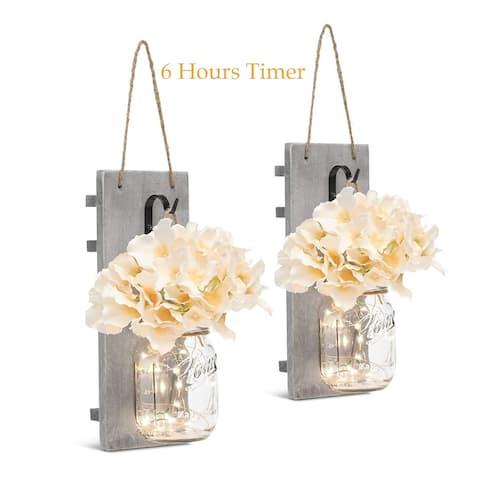 Mason Jar Sconces with LED - Fairy Lights,Vintage Wrought Iron Hooks - Medium