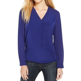 Calvin Klein Jeans Womens Blouse Sheer V-Neck