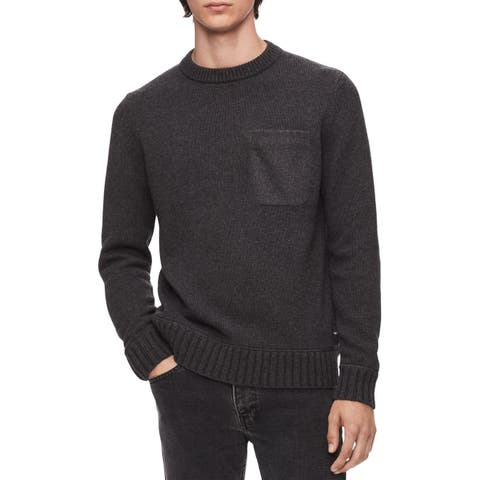 Calvin Klein Mens Sweater Gray Size Large L Ribbed Pullover Crewneck