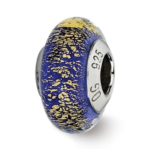 Italian Sterling Silver Reflections Blue/Gold Murano Glass Bead (4mm Diameter Hole)