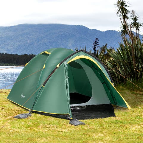 Outsunny 4-Person Camp Backpacking Tent with Vestibule Area, Water-Fighting Polyester Rain Cover, & Mesh Windows, Yellow
