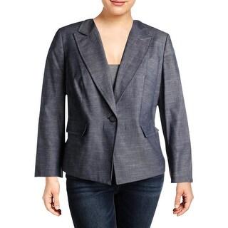 Nine West Womens Plus One-Button Blazer Denim Peak Collar