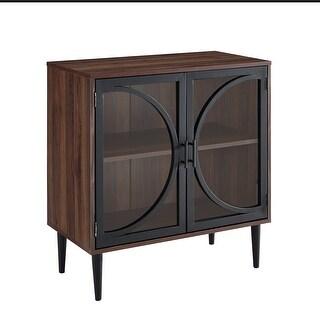 "Delacora WE-BDF30LOLA  30"" Wide Two Shelf Glass, Laminate and Metal Accent Cabinet - Dark Walnut"