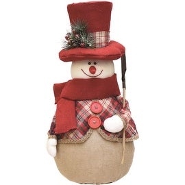 "22.75"" Red and Brown Plaid Snowman with Shovel  Scarf and Top Hat Table Top Christmas Figure"