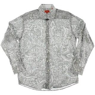 Tallia Mens Paisley Cotton Dress Shirt - L
