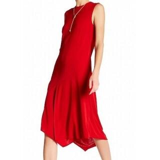 DKNY NEW Scarlet Red Womens Size P Petite Asymmetric Hem Maxi Dress