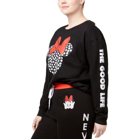 Disney Womens Plus The Good Life Sweatshirt, Crew Graphic Fleece